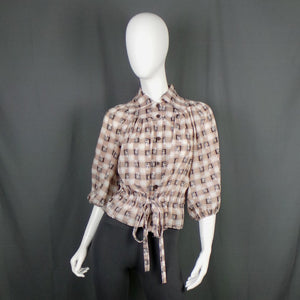 1970s Brown, Orange and White Novelty Print Checked Balloon Sleeve Shirt, 42in Bust