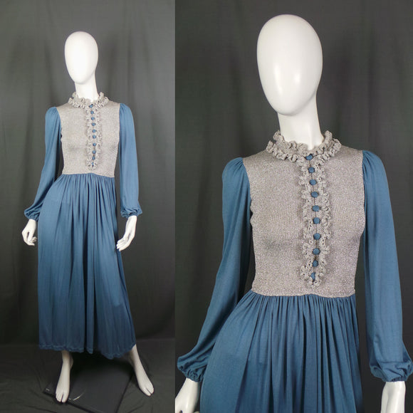 1970s Silver Lurex and Blue Crimplene Frill Neck Maxi Dress, 34in Bust