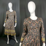 1970s Liberty Tana Lawn Black and Green Ditzy Floral Midi Dress, by Hildebrand, 36in Bust