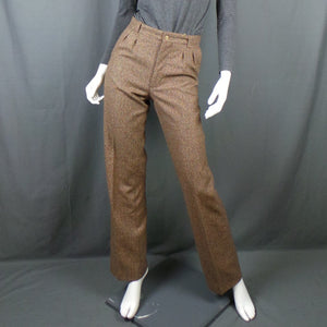 1970s Tan Brown Flecked Tweed High Waist Trousers, 28in Waist