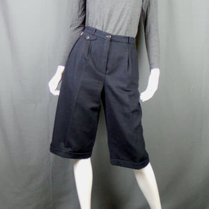 1980s French Navy Long Wool Shorts with Turn Ups, by Archie Pell, 27in Waist