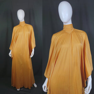 1970s Peach Pleated Sun Ray Kaftan Maxi Dress, by Frank Usher, Free Size
