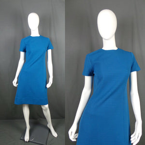 1960s Kingfisher Blue Simple Mod Shift Dress, 40in Bust