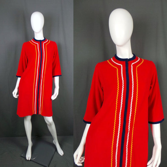1960s Pillar Box Red Ric Rak Fleece 'Loungewear' House Coat Dress, by Evelyn Pearson, 40in Bust