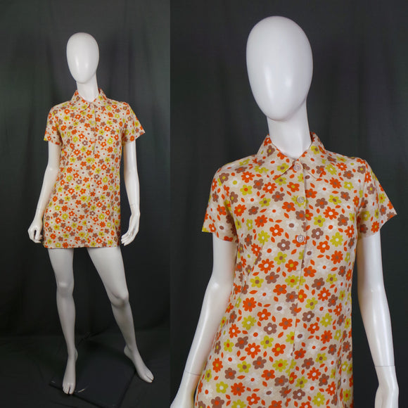 1960s Flower Power Mini Mod Collared Dress, by Julie Joy, 38in Bust