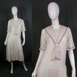 1980s Laura Ashley White Sailor Drop Waisted Linen Blend Dress, 38in