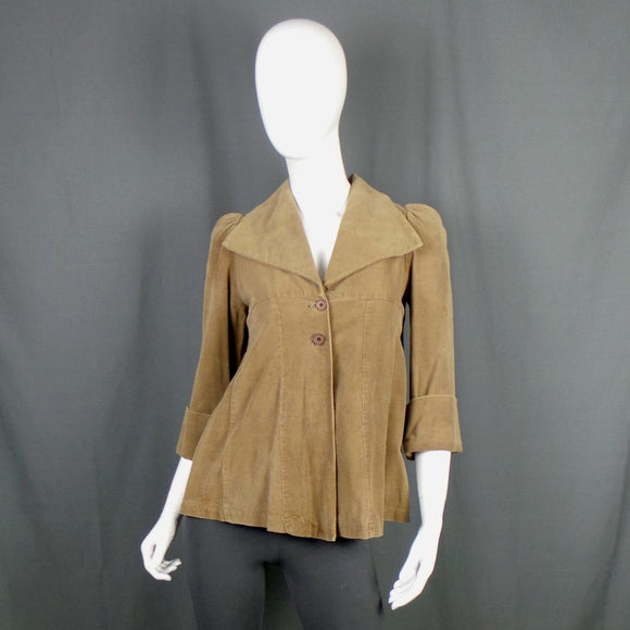 1970s Brown Cord Wide Collar Swing Jacket, by Etam, 33in Bust
