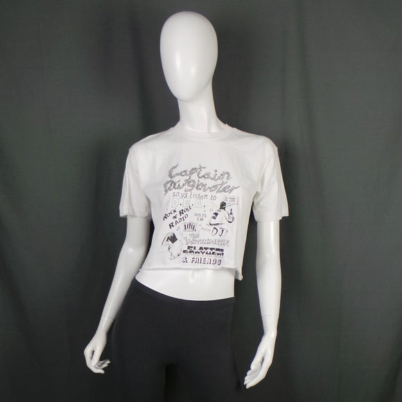 1980s Captain Drugbuster Pirate Radio Station Cropped White T-Shirt, 40in Bust Max