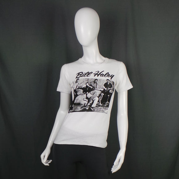 1980s Bill Haley and The Comets White T-Shirt, 39in Bust Max