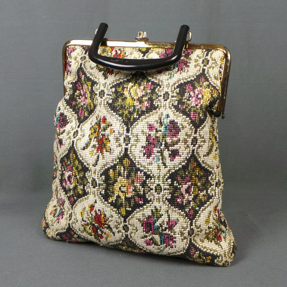1960s Floral Tapestry Top Handle Carpet Bag