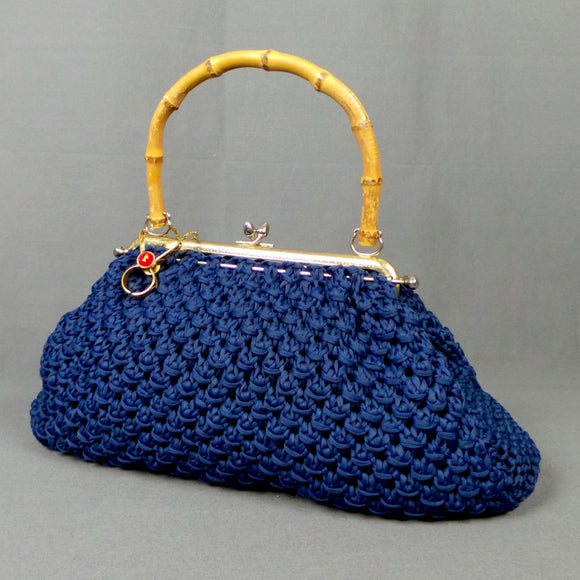 1960s Deep Blue Crochet Bamboo Handle Bag with Glove Clip