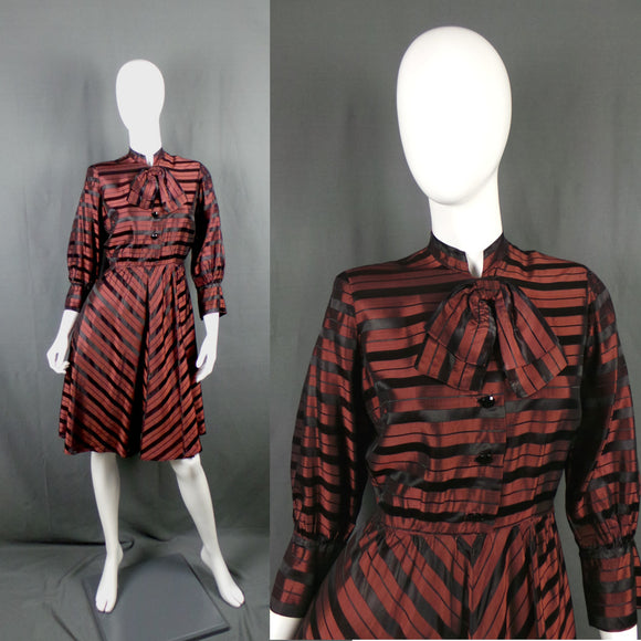 1940s Brown and Black Striped Taffeta Pussy Bow Dress, by Percy Trilnick, 39in Bust