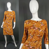 1950s Golden Yellow Carnation Print Jersey Volup Wiggle Dress, by Jeannie Brand, 42in Bust