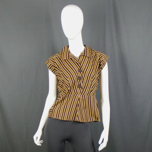 1950s Chocolate and Caramel Striped Sleeveless Shirt, 34in Bust