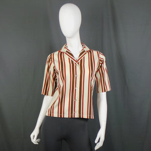 1950s Cream, Brown and Orange Striped Short Sleeve Shirt, by Shapely, 38in Bust