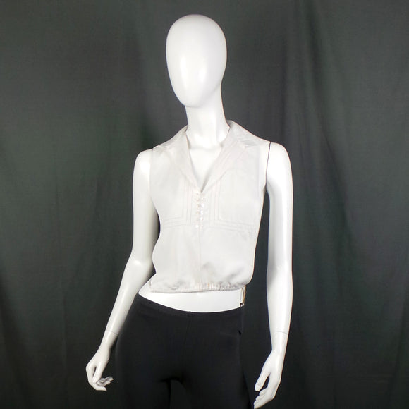 Edwardian White Cotton Wide Collar Dickie, Free Size