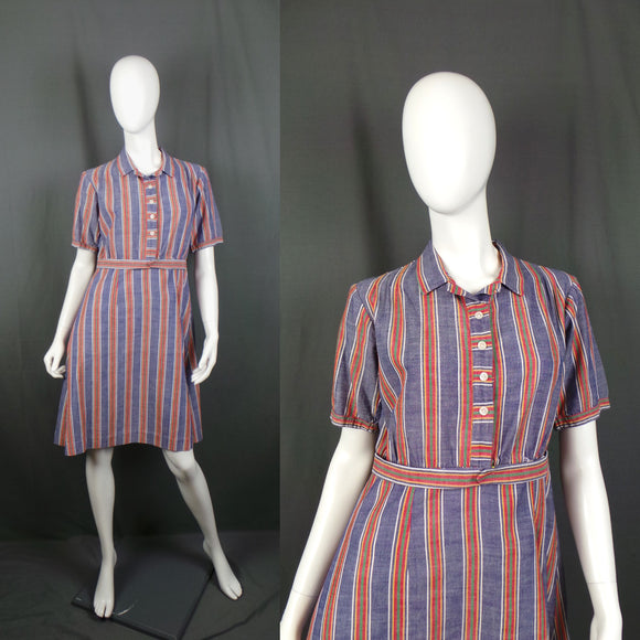 1930s Blue and Red Striped Cotton Work Wear Dress, 40in Bust