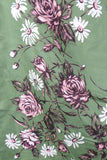 1950s Sage Green Rose and Daisy Print Silk Scarf, by Jacqmar