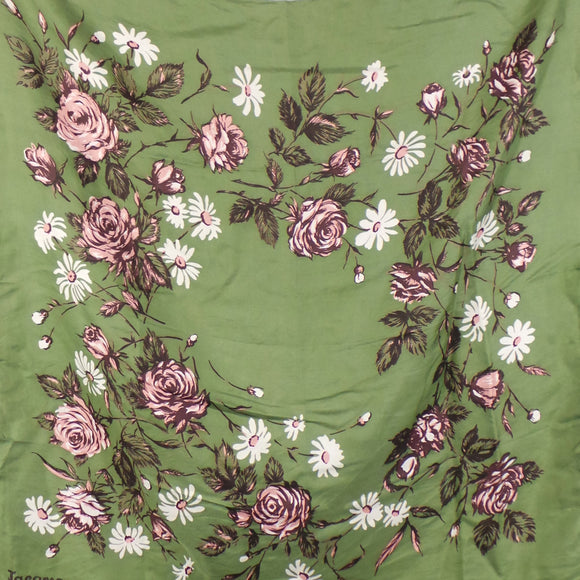 1950s Green Rose and Daisy Print Silk Scarf, by Jacqmar