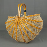 1950s Bamboo and String Fold Down 'Lobster Pot' Market Bag