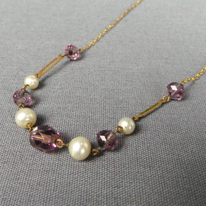 1930s Lilac Bead and Pearl Brass Short Necklace