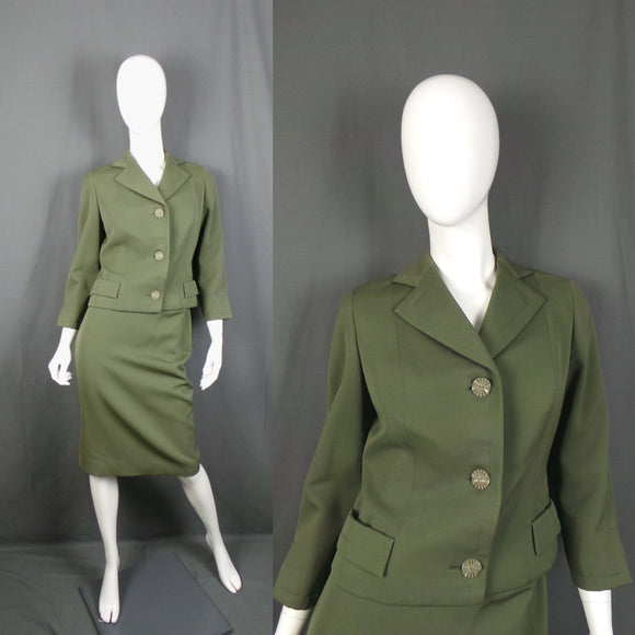 1950s Khaki Green Boxy Jacket Two Piece Suit, by Masterhand, 23in Waist