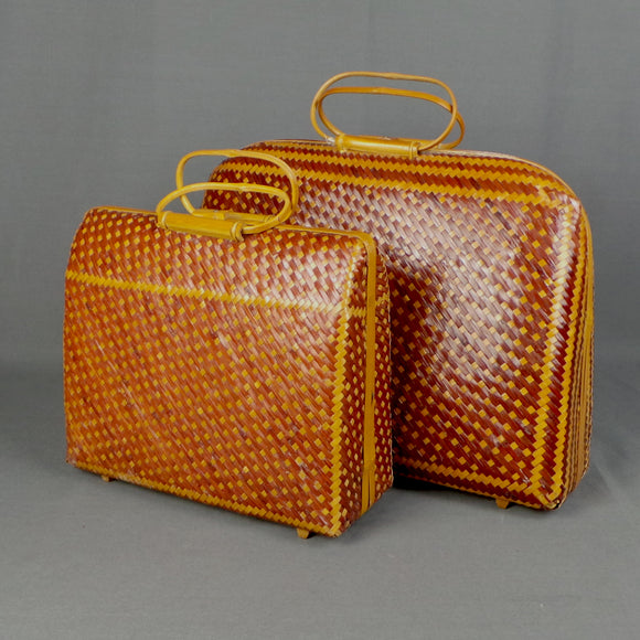 1950s Wicker and Bamboo Basket Suitcase Bags, Set of Two