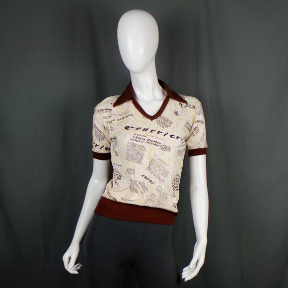 1970s Cream and Brown Newspaper Print Collared T-Shirt, 36in Bust