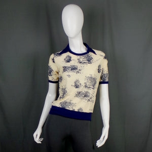 1970s Cream and Blue Novelty Print Collared T-Shirt, 38in Bust