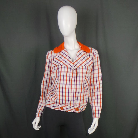 1970s Orange and Purple White Checked Light Jacket, 42in Bust
