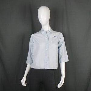 1950s Blue Striped American Diner Shirt with Heather Embroidery, 40in Bust