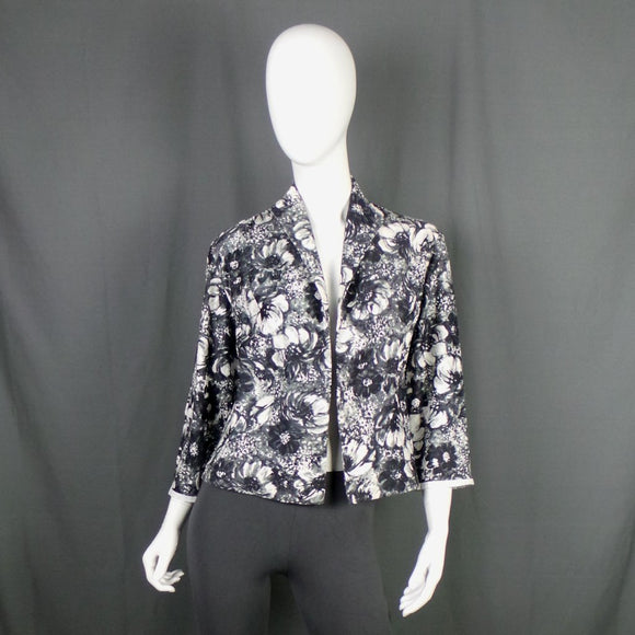 1950s Black and White Floral Light Cotton Jacket, 42in Bust