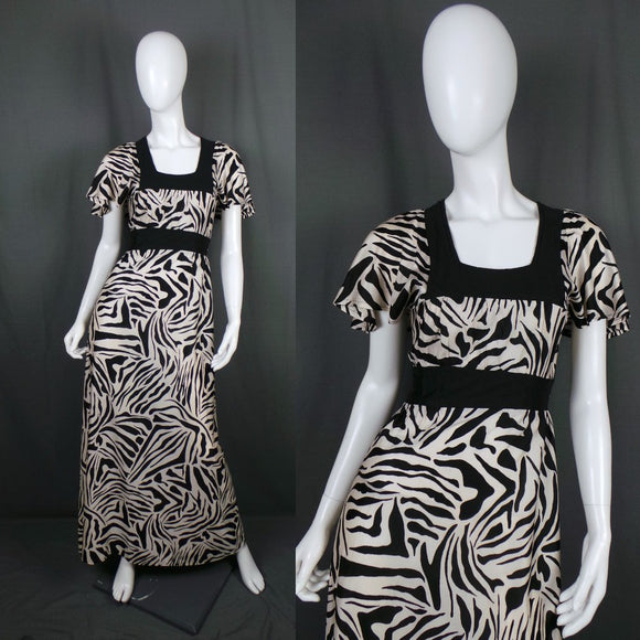 1970s Black and Cream Zebra Print Flutter Sleeve Maxi Dress, by Barry Artist, 34in Bust