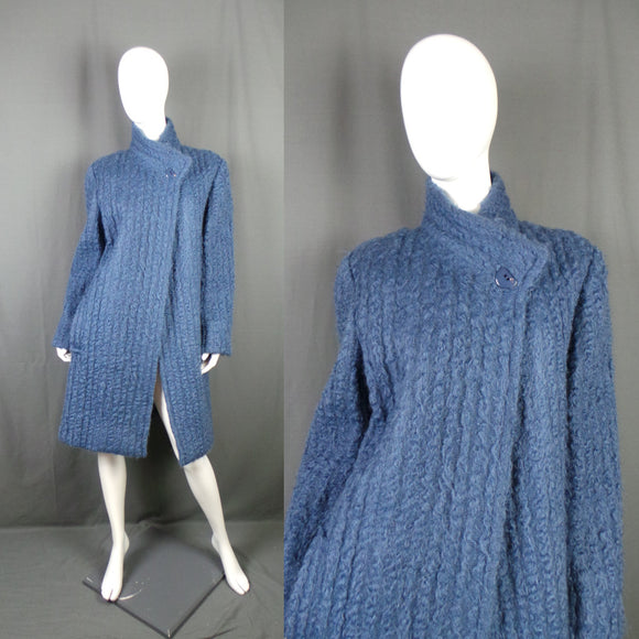 1980s Cornflower Blue Mohair Blend Asymmetric Coat, by Jaeger, 44in Bust