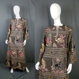 1970s Black African Wax Print Style Animal Caftan Dress, by St Michael, 42in Bust