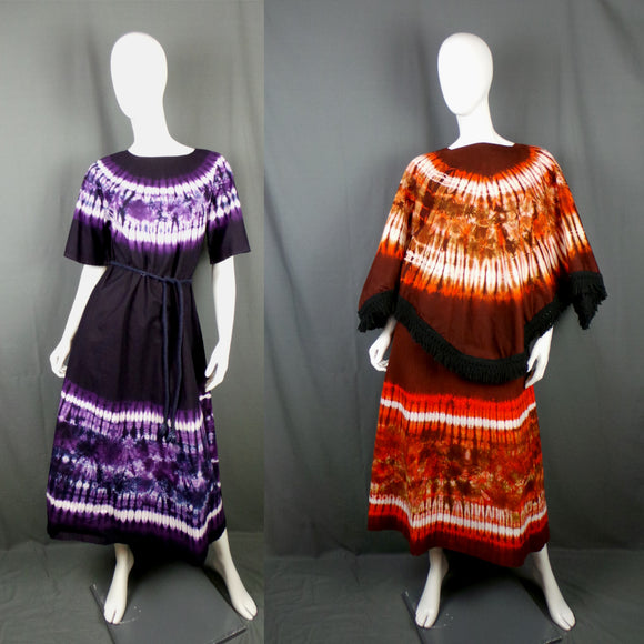 1960s Purple and Orange Tie Dye Matching Kaftans with Reversible Cape, 38in Bust