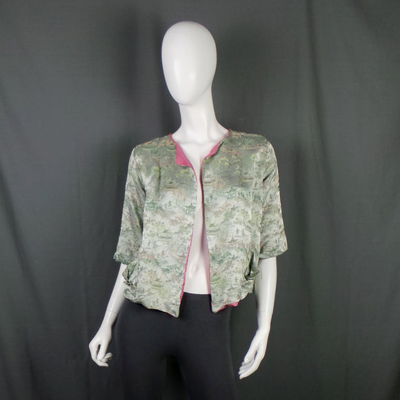 1930s Silver Green Chinese Silk Brocade Bed Jacket, 39in Bust