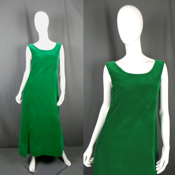 1960s Kelly Green Velvet Long Dress with Flowing Back Sash, 38in Bust