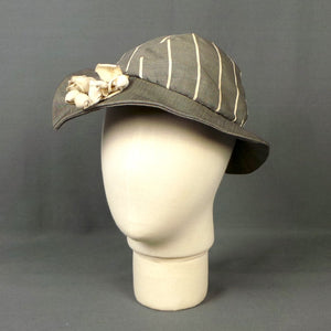 1930s Dove Grey and White Striped Pointed Brim Hat with White Canvas Flowers, by Vanek's