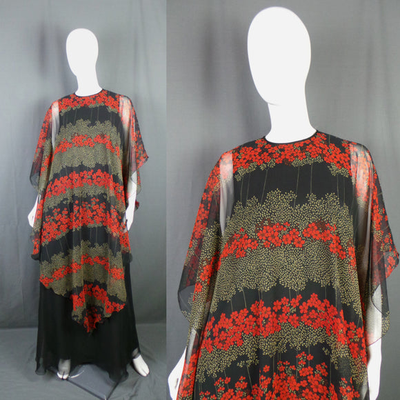1970s Jean Varon Red and Black Floral Chiffon Caped Maxi Dress, 40in Bust