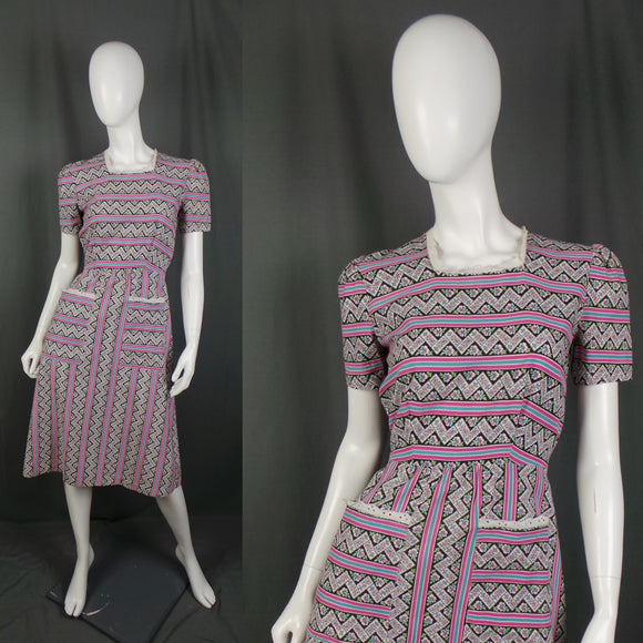 1930s Pink and Blue Pansies Floral Striped Cotton Dress, 36in Bust