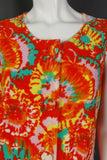 1960s Bright Orange Tie Dye Floral Print Towelling Beach Dress, 43in Bust