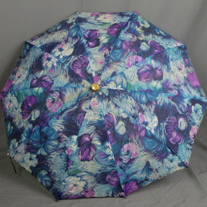 1950s Lilac and Blue Painterly Floral Pop Out Umbrella