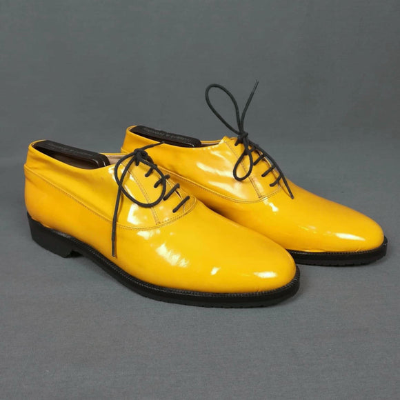 1960s Bright Yellow Patent Leather Deadstock Brogues, by Russell and Bromley, UK8/9