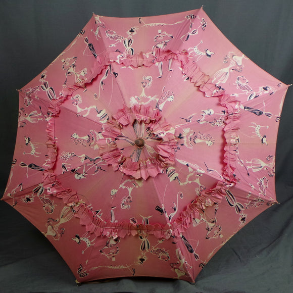 1940s Candy Pink Poodle Novelty Print Frilly Cotton Parasol
