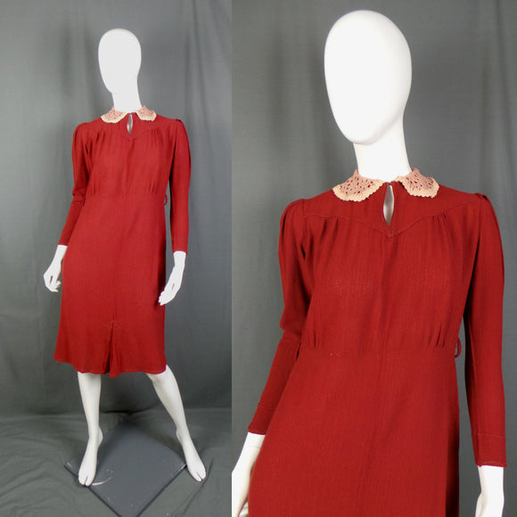 1930s Burgundy Lace Peter Pan Collar Crepe Dress, 42in Bust