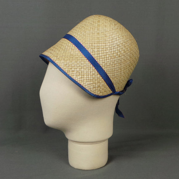 1920s Straw and Blue Ribbon Deadstock Cloche Hat