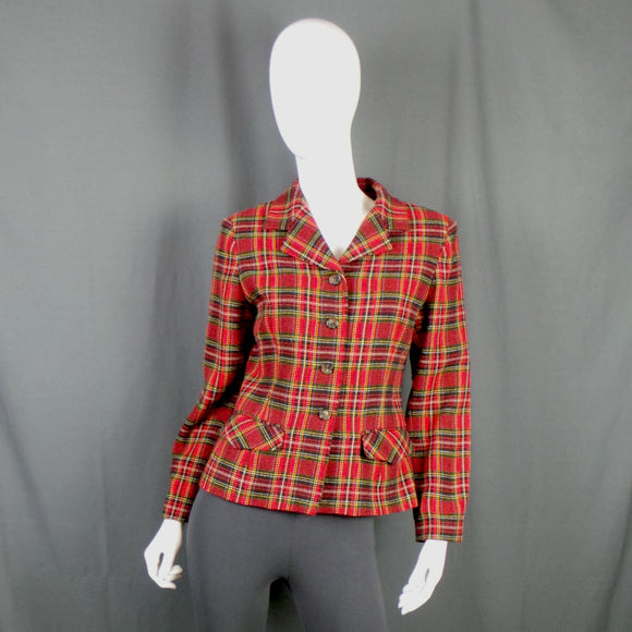 1970s Bright Red Tartan Check Blazer, 38in Bust