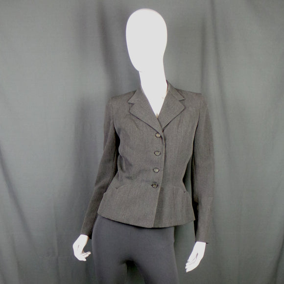 1940s Slate Grey Blazer with Scalloped Edge Pockets, by Ritaville, 40in Bust