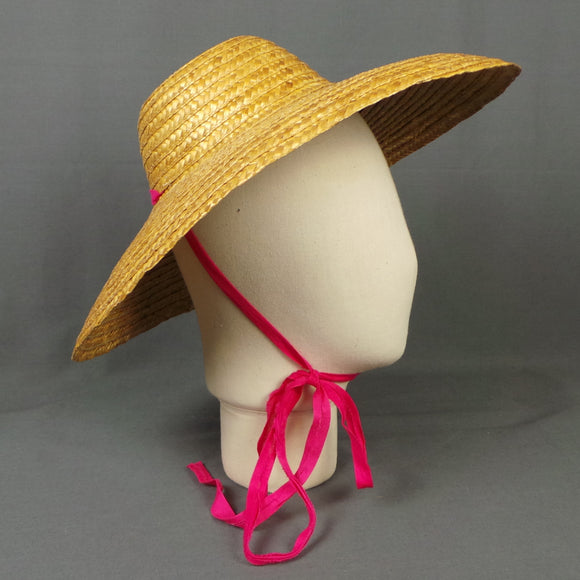 1950s Wide Brim Straw Hat with Pink Tie Ribbon